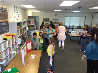 Children looking at a display in the library